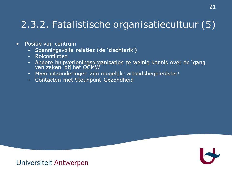 2.3.3. Egalitaire organisatiecultuur (1)