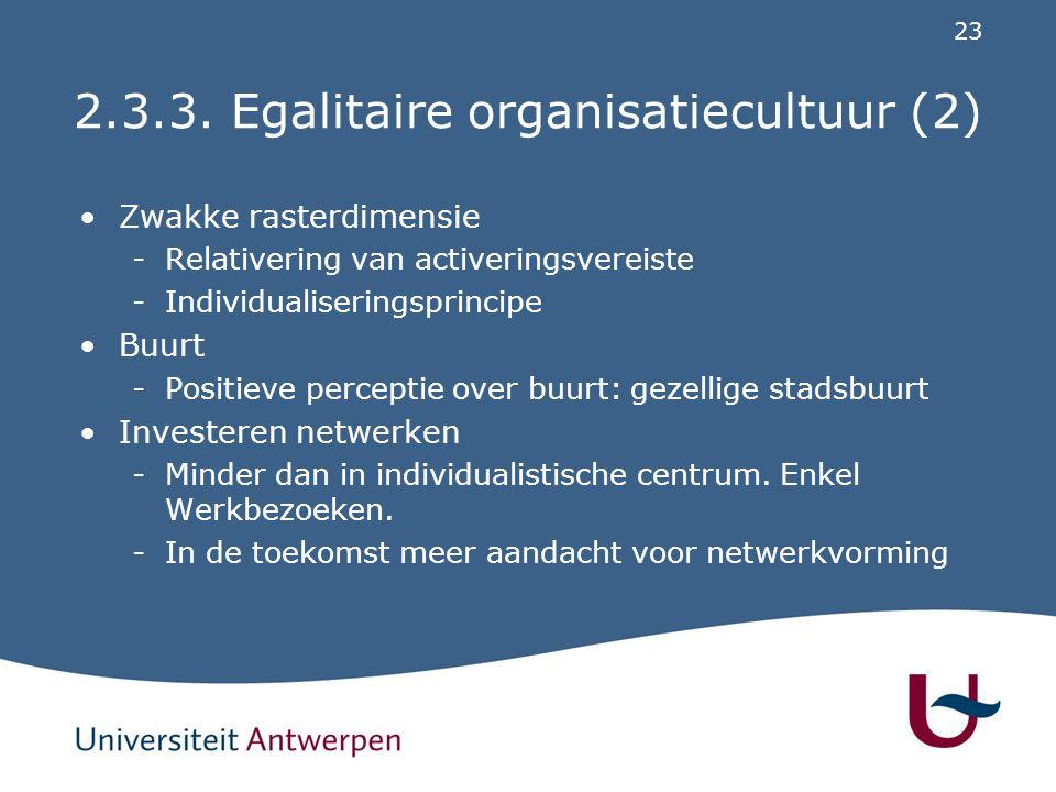 2.3.3. Egalitaire organisatiecultuur (3)