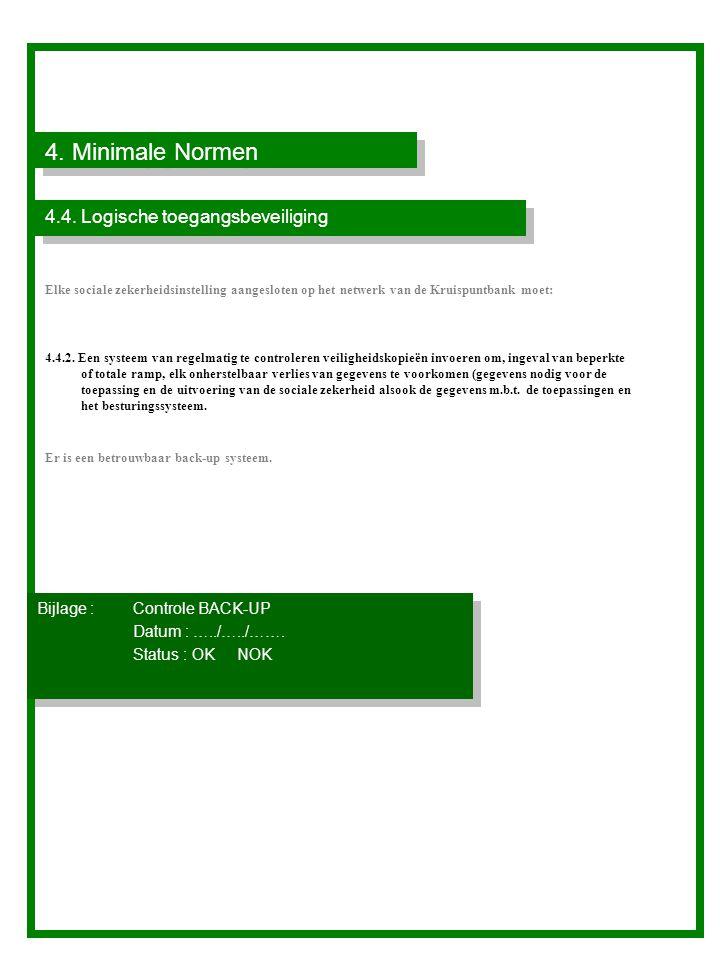 4. Minimale Normen 4.4. Logische toegangsbeveiliging