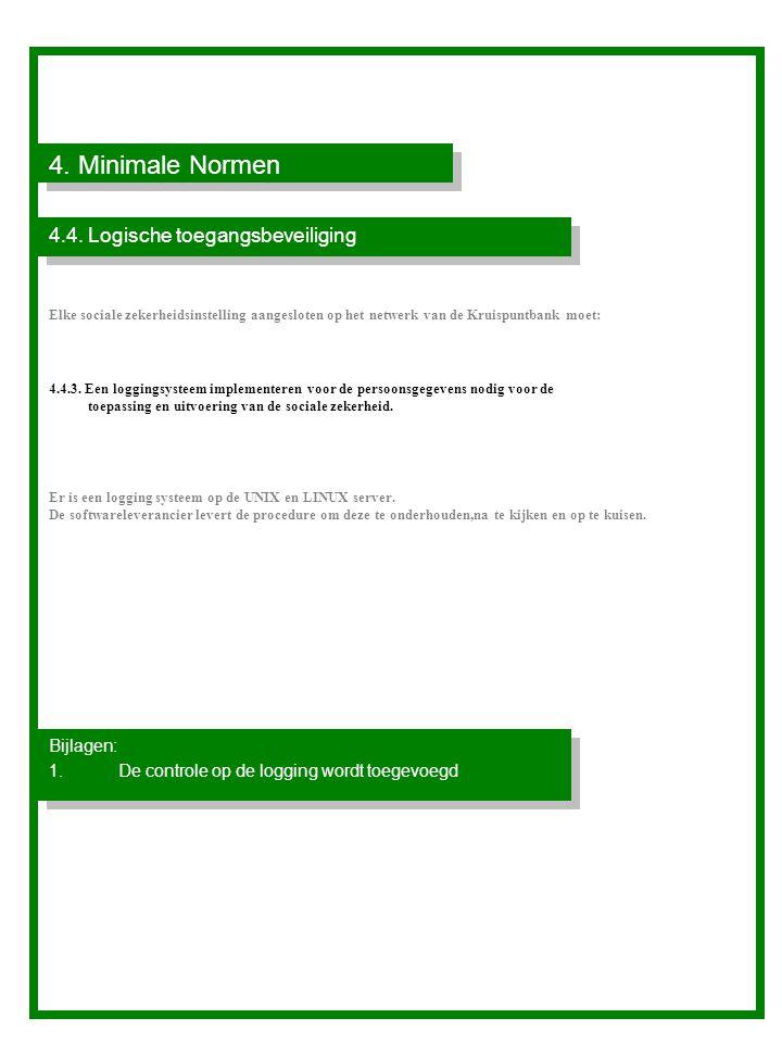 4. Minimale Normen 4.4. Logische toegangsbeveiliging Bijlagen: