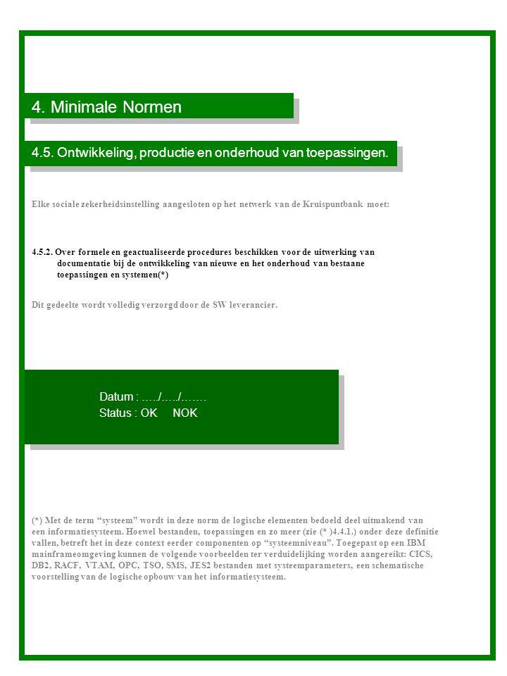 4. Minimale Normen 4.5. Ontwikkeling, productie en onderhoud van toepassingen.