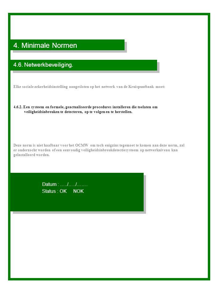 4. Minimale Normen 4.6. Netwerkbeveiliging. Datum : …../…../…….