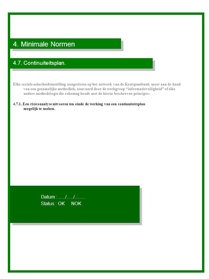 4. Minimale Normen 4.7. Continuiteitsplan. Datum : …../…../…….