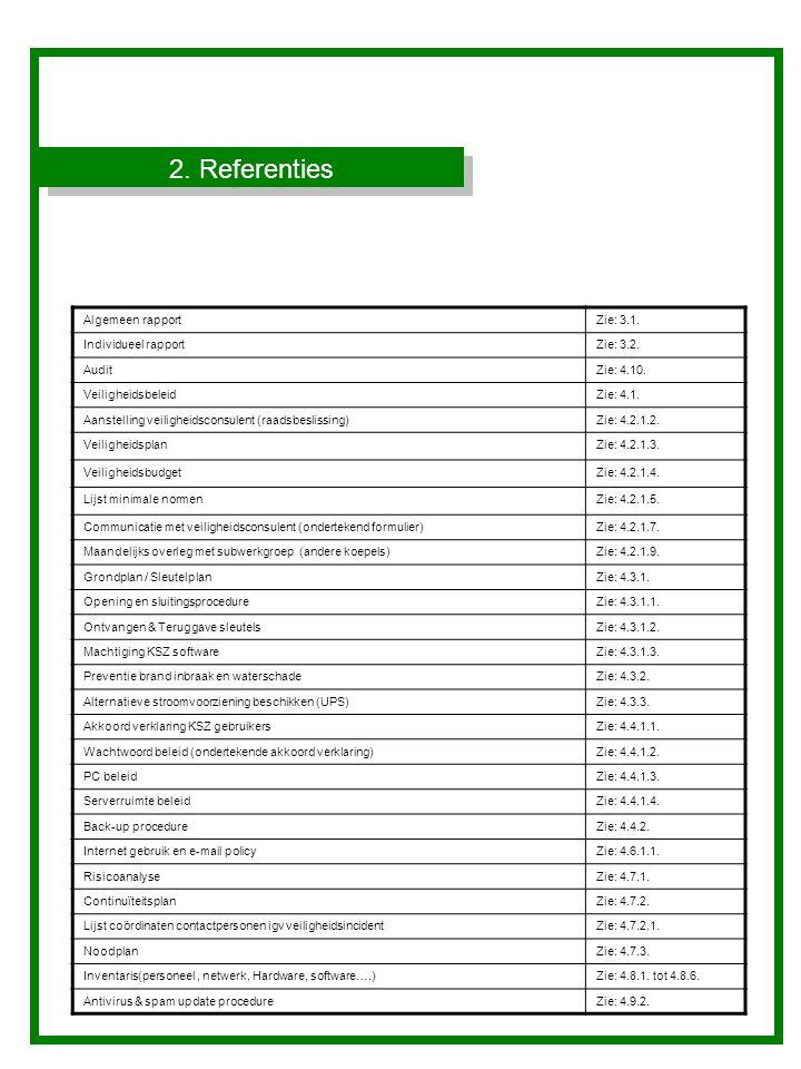 2. Referenties Algemeen rapport Zie: 3.1. Individueel rapport