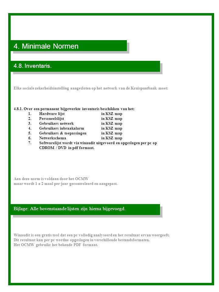4. Minimale Normen 4.8. Inventaris.