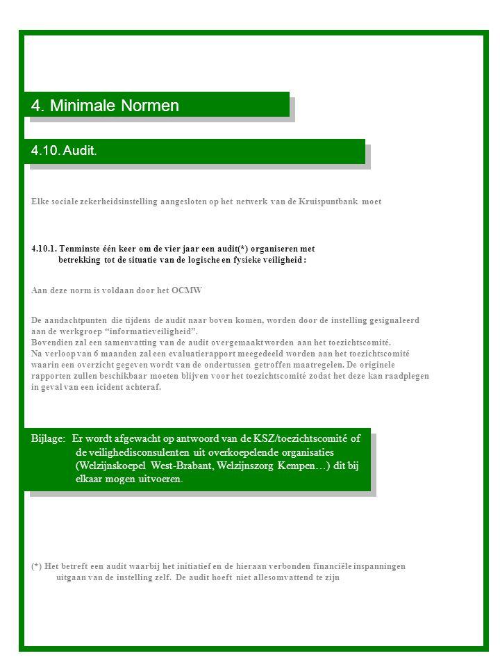 4. Minimale Normen 4.10. Audit. Elke sociale zekerheidsinstelling aangesloten op het netwerk van de Kruispuntbank moet.