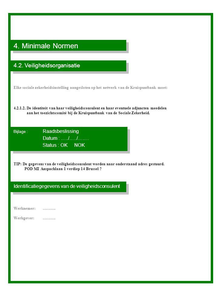 4. Minimale Normen 4.2. Veiligheidsorganisatie Status : OK NOK