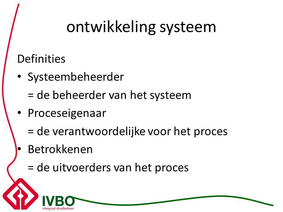 ontwikkeling systeem Definities Systeembeheerder