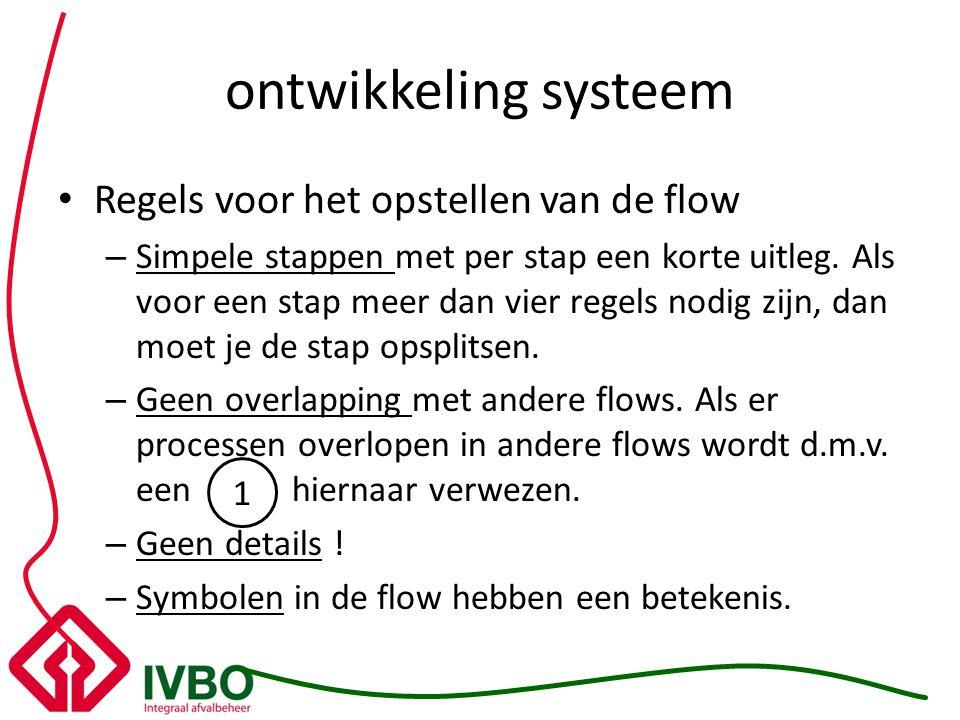 ontwikkeling systeem Regels voor het opstellen van de flow