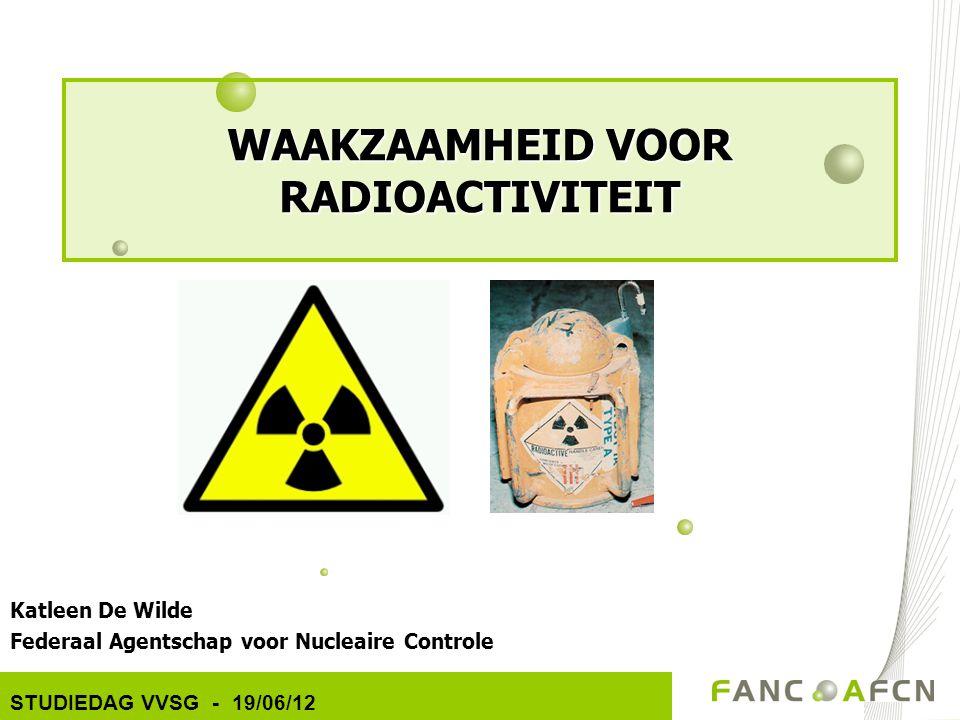 WAAKZAAMHEID VOOR RADIOACTIVITEIT