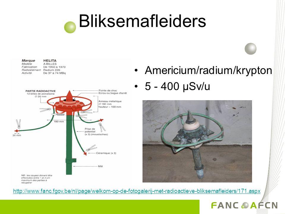 Bliksemafleiders Americium/radium/krypton 5 - 400 µSv/u