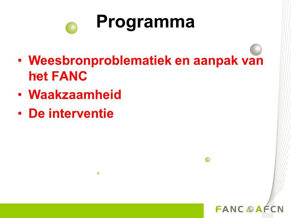 Programma Weesbronproblematiek en aanpak van het FANC Waakzaamheid