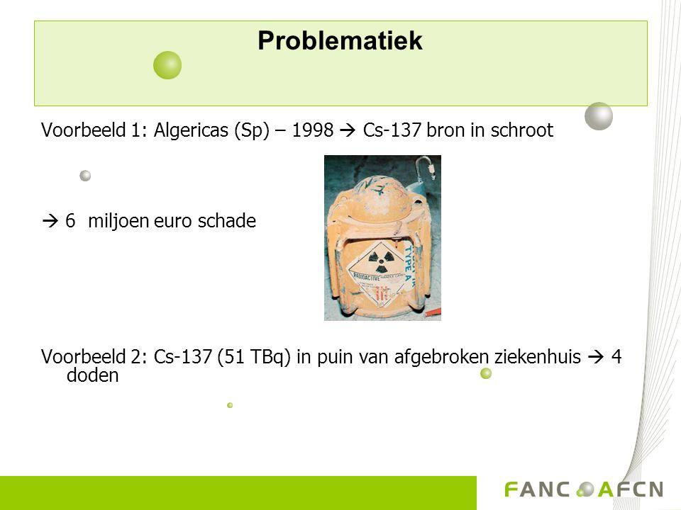 Problematiek Voorbeeld 1: Algericas (Sp) – 1998  Cs-137 bron in schroot.  6 miljoen euro schade.