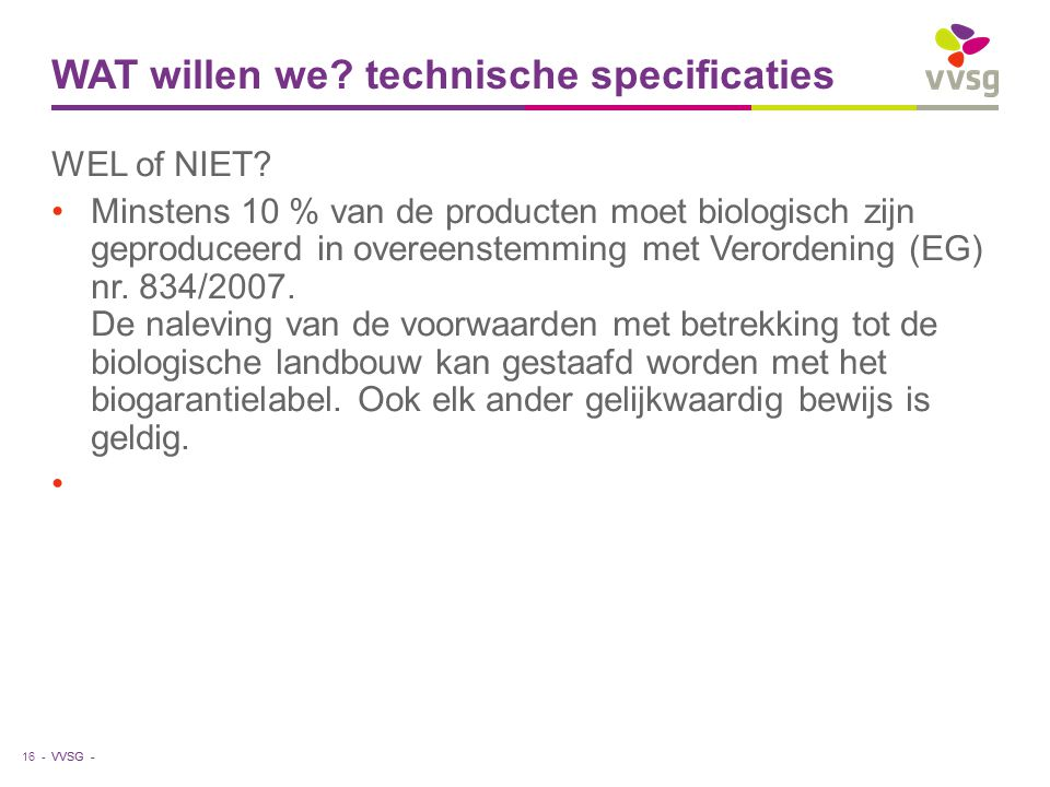 WAT willen we technische specificaties