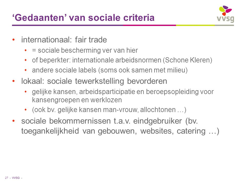 'Gedaanten' van sociale criteria