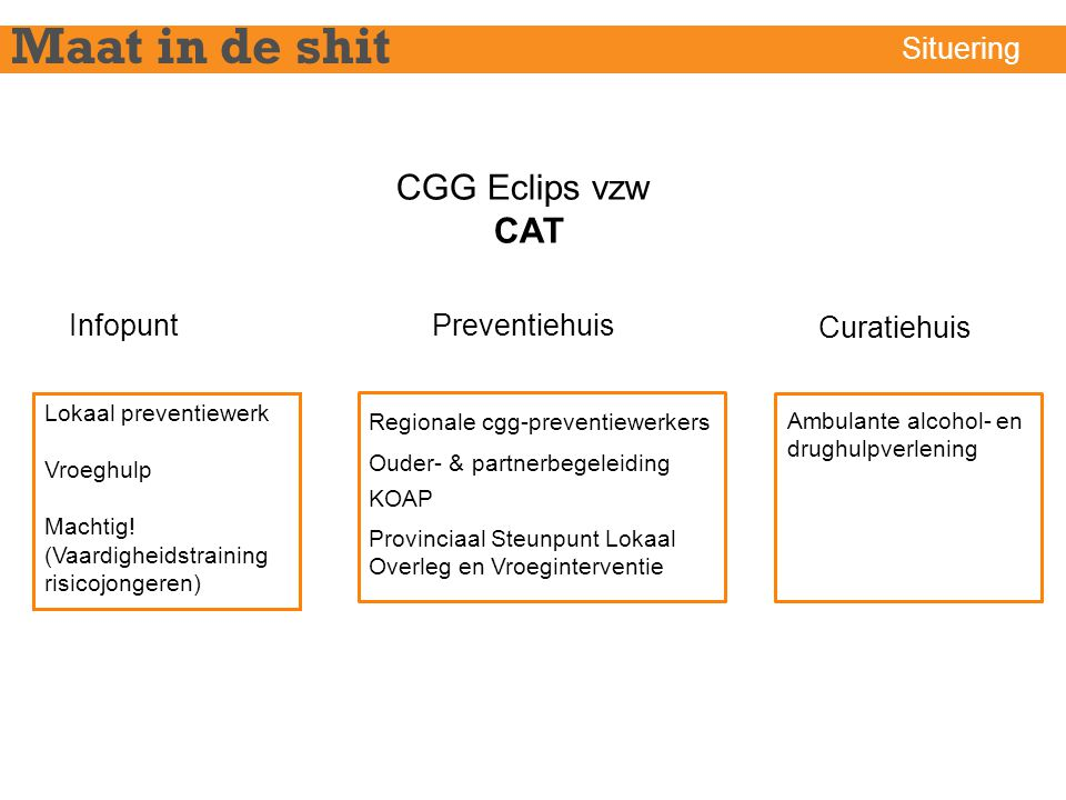 Maat in de shit CGG Eclips vzw CAT Situering Infopunt Preventiehuis