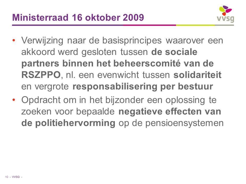 Ministerraad 16 oktober 2009