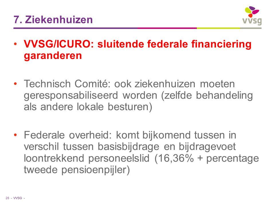 7. Ziekenhuizen VVSG/ICURO: sluitende federale financiering garanderen.