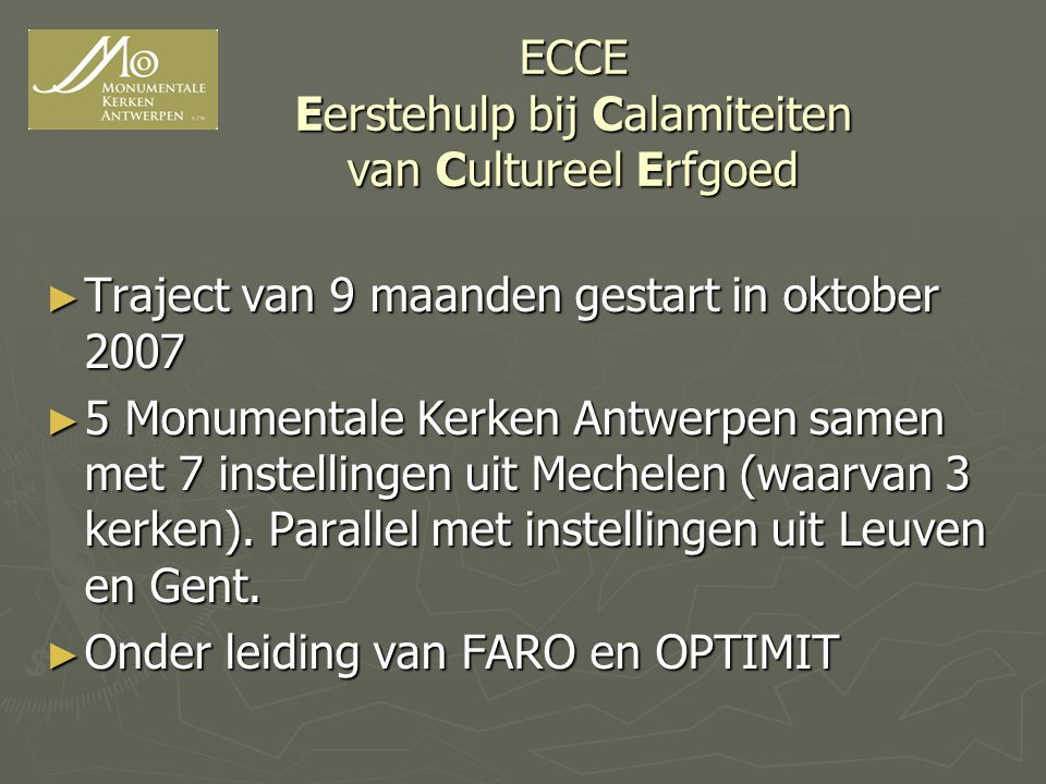 ECCE Eerstehulp bij Calamiteiten van Cultureel Erfgoed