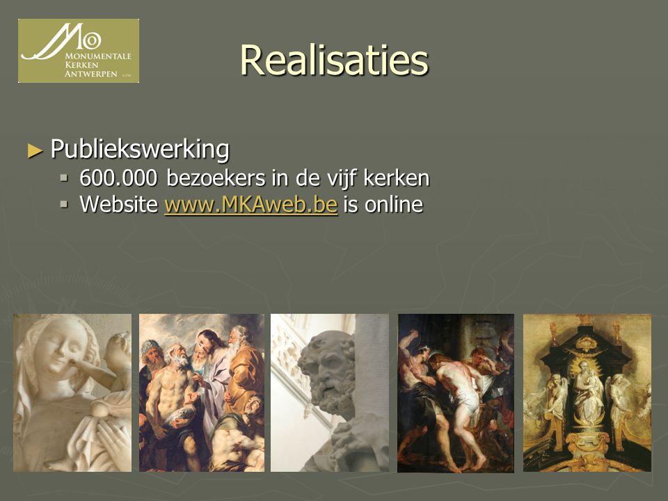 Realisaties Publiekswerking 600.000 bezoekers in de vijf kerken