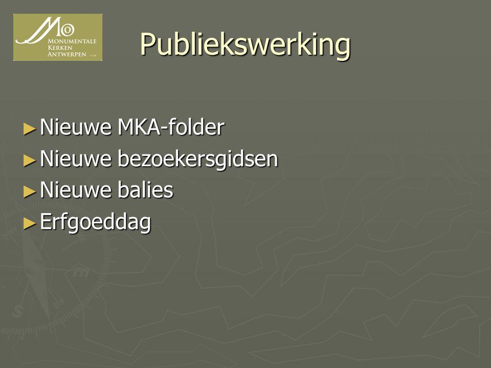Publiekswerking Nieuwe MKA-folder Nieuwe bezoekersgidsen Nieuwe balies