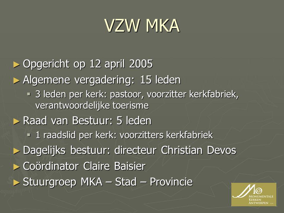 VZW MKA Opgericht op 12 april 2005 Algemene vergadering: 15 leden