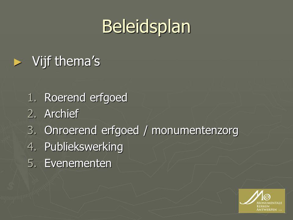Beleidsplan Vijf thema's Roerend erfgoed Archief