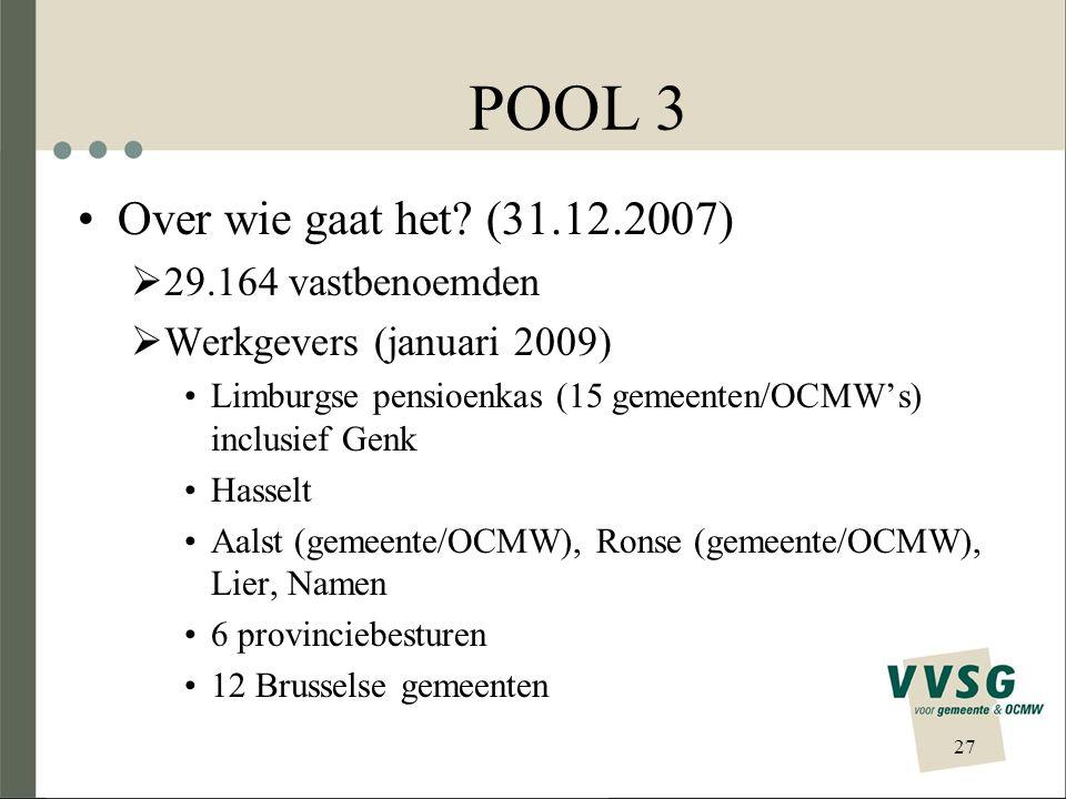 POOL 3 Over wie gaat het (31.12.2007) 29.164 vastbenoemden