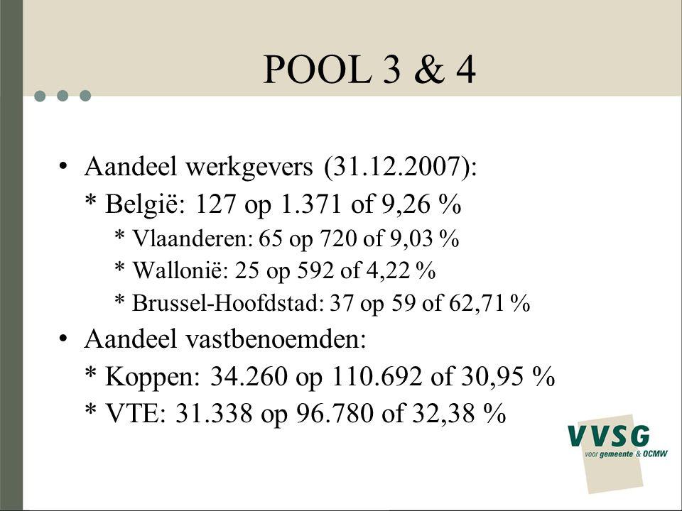POOL 3 & 4 Aandeel werkgevers (31.12.2007):