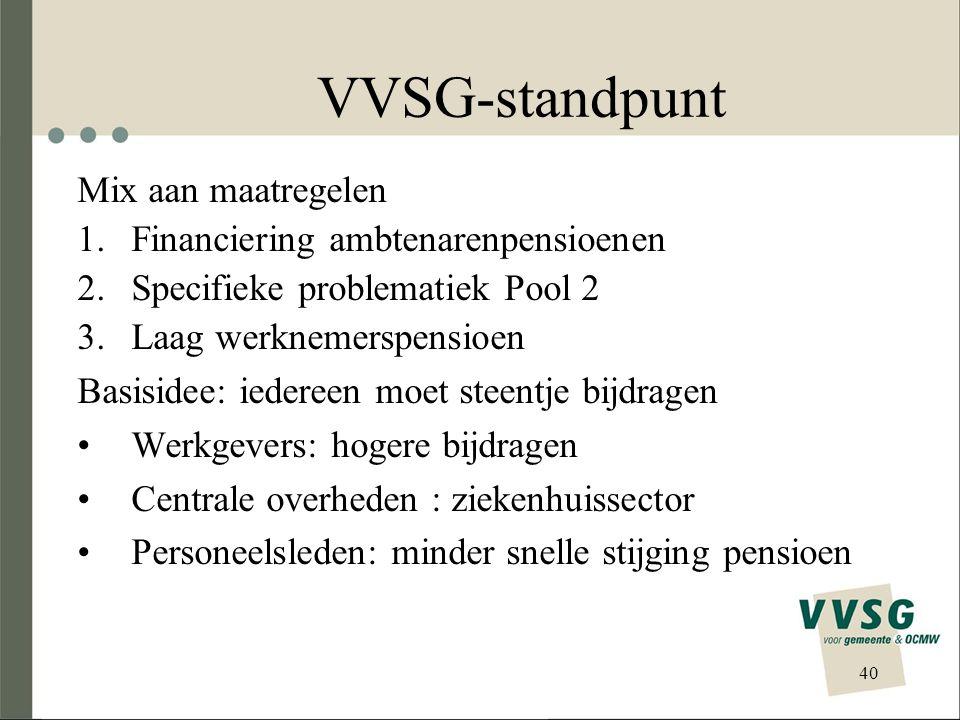 VVSG-standpunt Mix aan maatregelen Financiering ambtenarenpensioenen