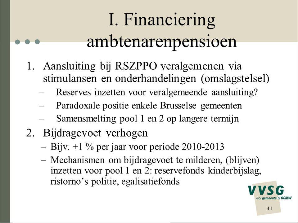 I. Financiering ambtenarenpensioen