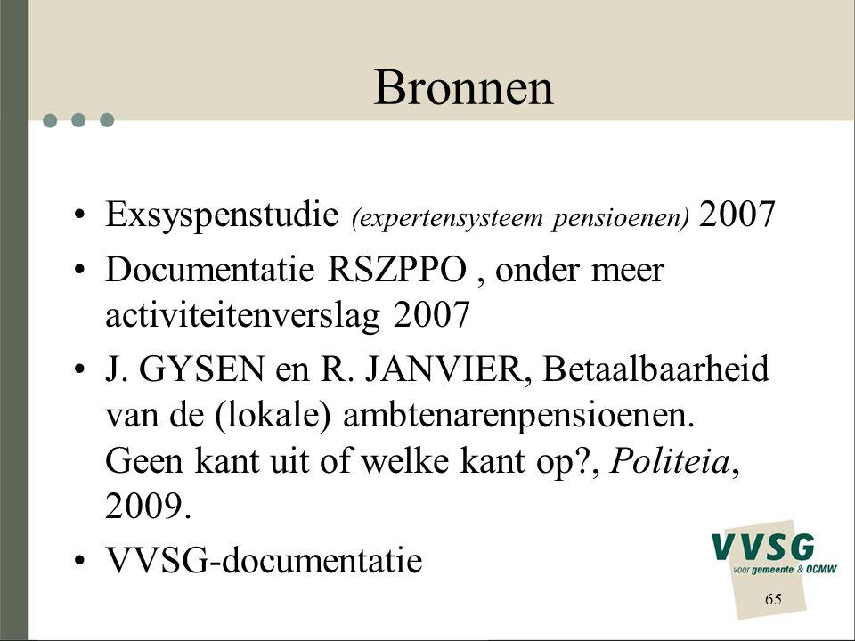 Bronnen Exsyspenstudie (expertensysteem pensioenen) 2007