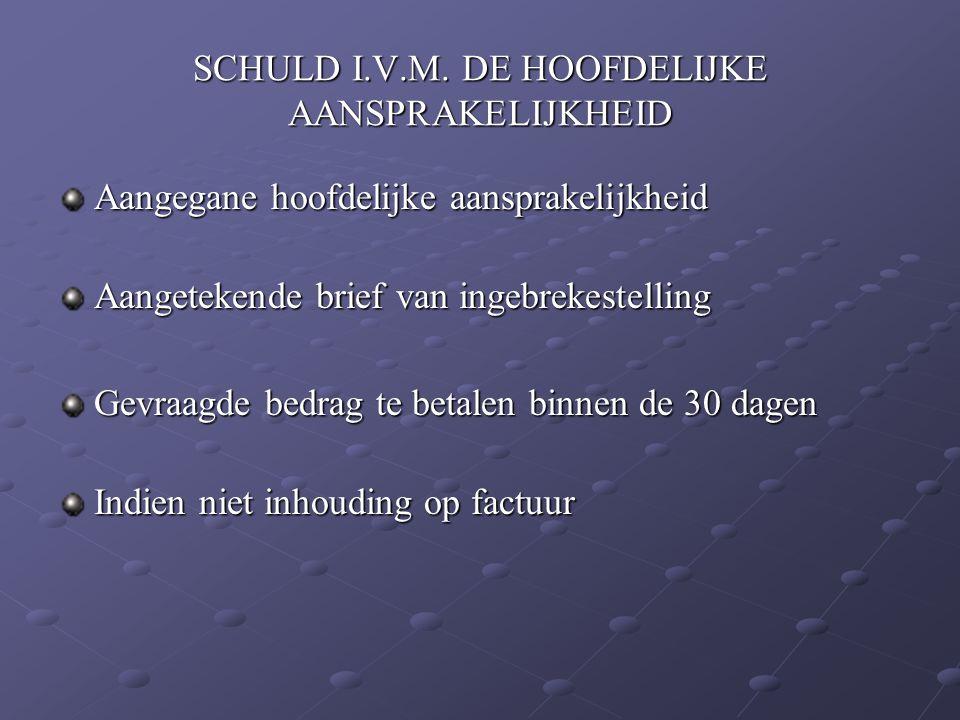 SCHULD I.V.M. DE HOOFDELIJKE AANSPRAKELIJKHEID