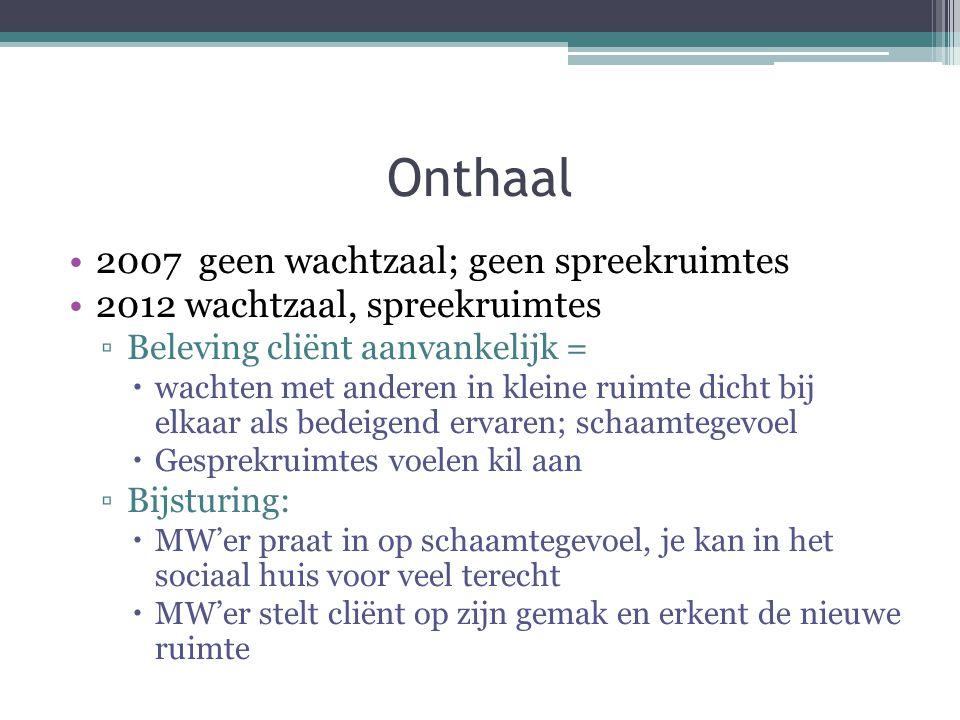 Onthaal 2007 geen wachtzaal; geen spreekruimtes