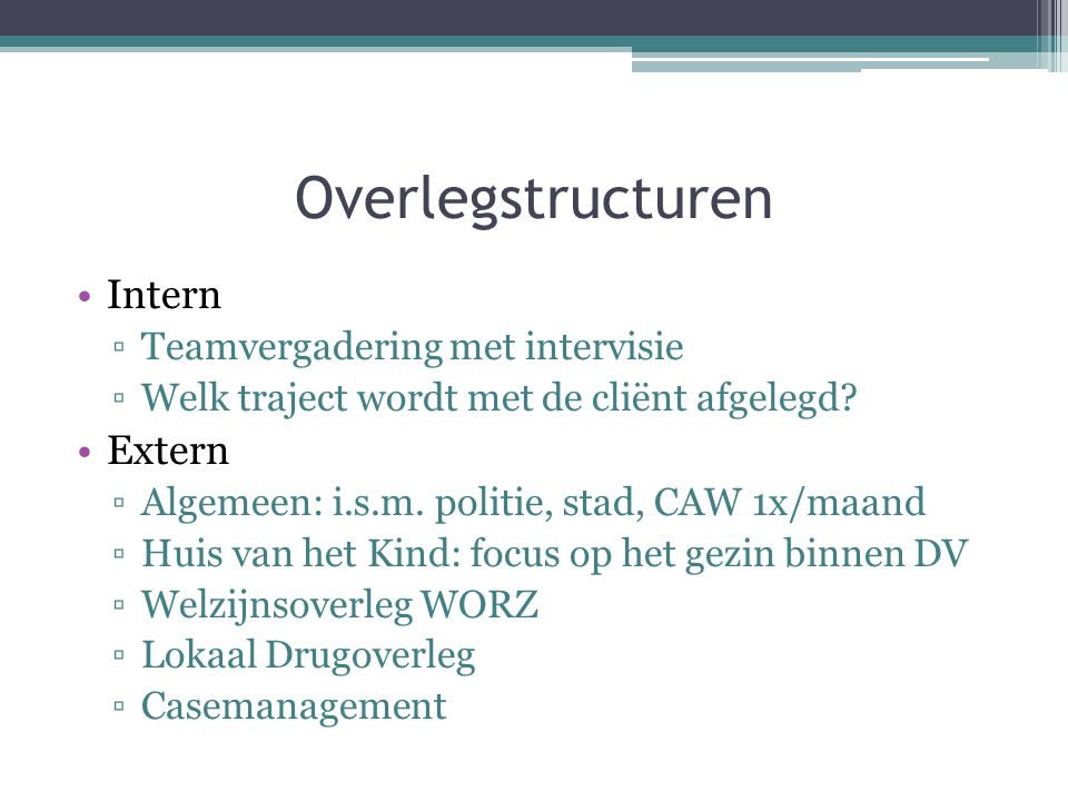 Overlegstructuren Intern Extern Teamvergadering met intervisie