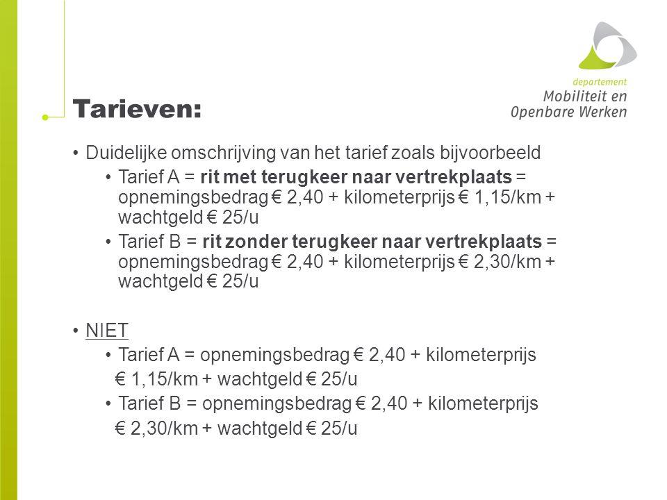 Tarieven: Duidelijke omschrijving van het tarief zoals bijvoorbeeld