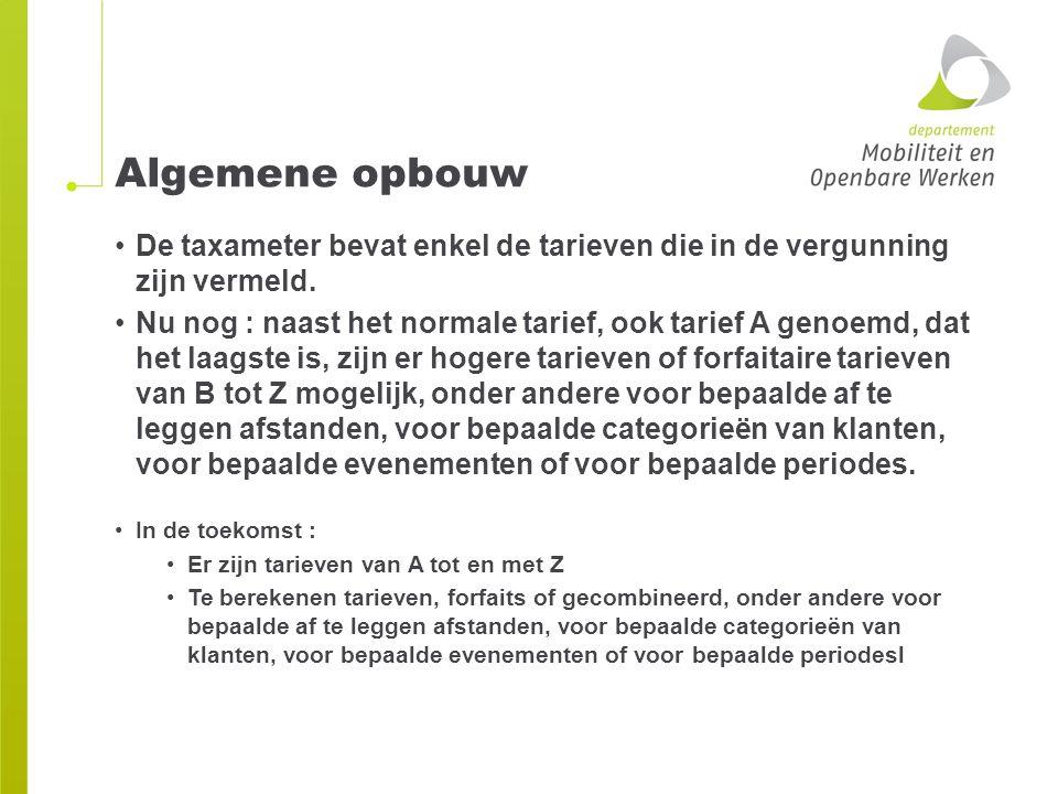 Algemene opbouw De taxameter bevat enkel de tarieven die in de vergunning zijn vermeld.
