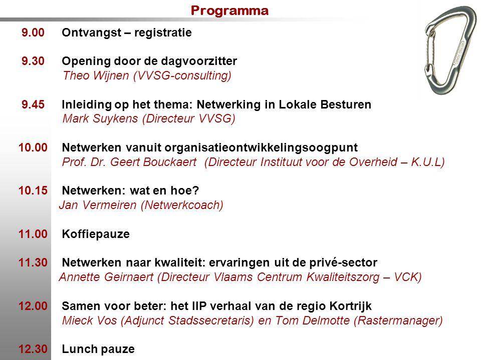 Programma 9.00 Ontvangst – registratie