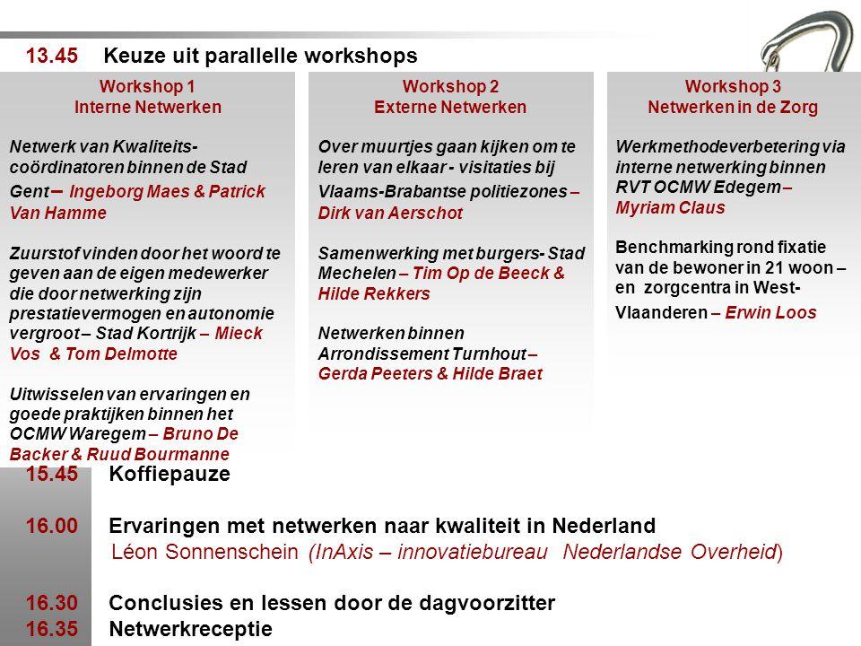 13.45 Keuze uit parallelle workshops