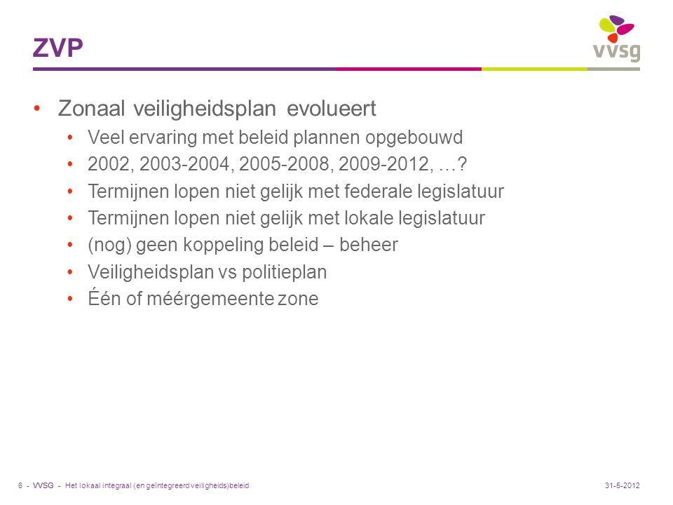 ZVP Zonaal veiligheidsplan evolueert