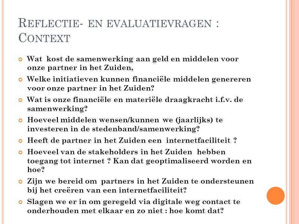 Reflectie- en evaluatievragen : Context