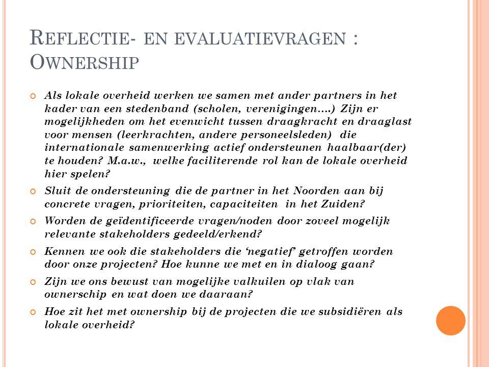 Reflectie- en evaluatievragen : Ownership