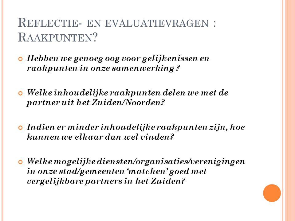 Reflectie- en evaluatievragen : Raakpunten