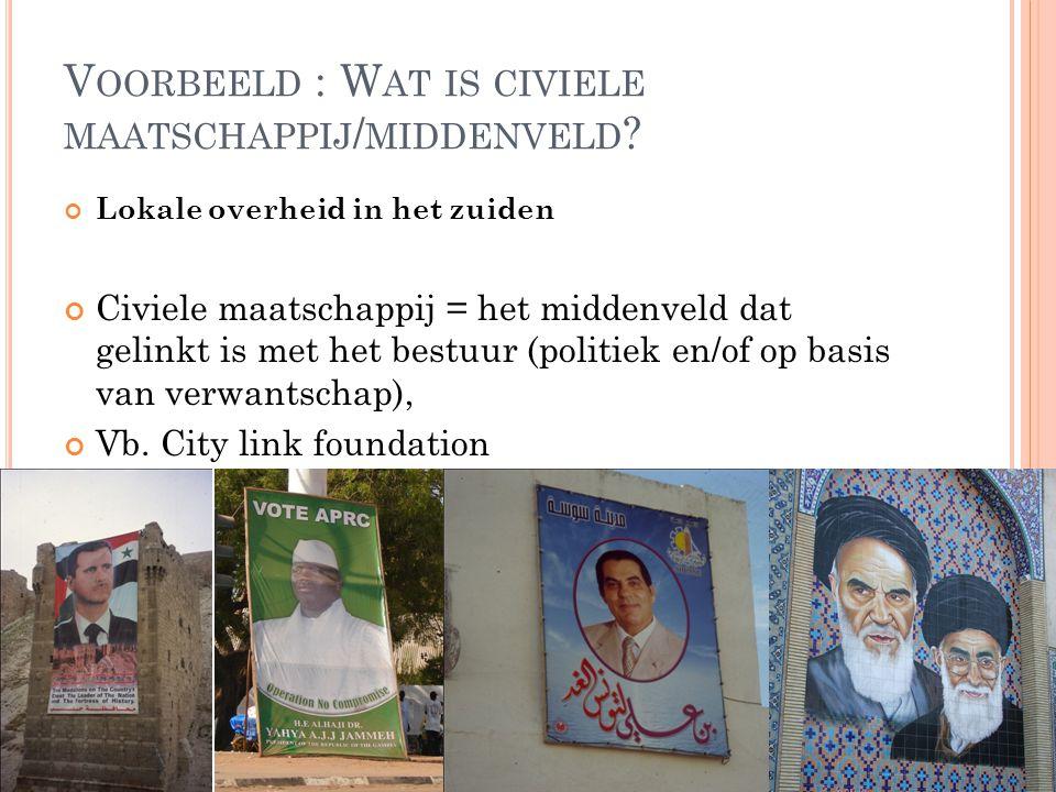 Voorbeeld : Wat is civiele maatschappij/middenveld