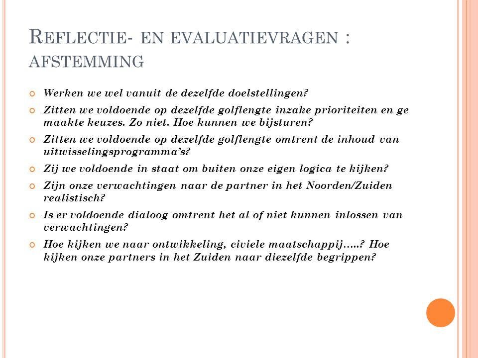 Reflectie- en evaluatievragen : afstemming