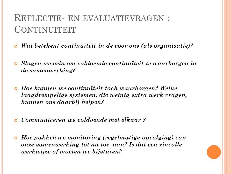 Reflectie- en evaluatievragen : Continuiteit
