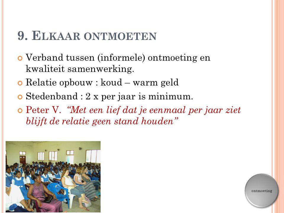 9. Elkaar ontmoeten Verband tussen (informele) ontmoeting en kwaliteit samenwerking. Relatie opbouw : koud – warm geld.