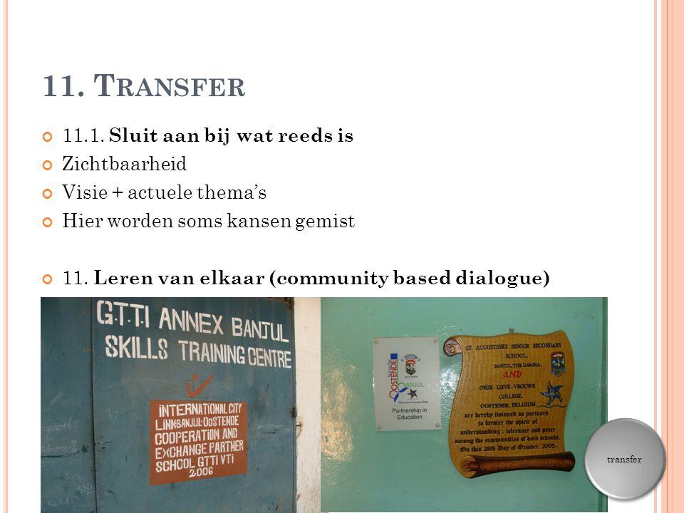 11. Transfer 11.1. Sluit aan bij wat reeds is Zichtbaarheid