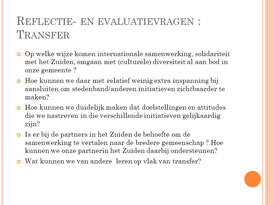 Reflectie- en evaluatievragen : Transfer