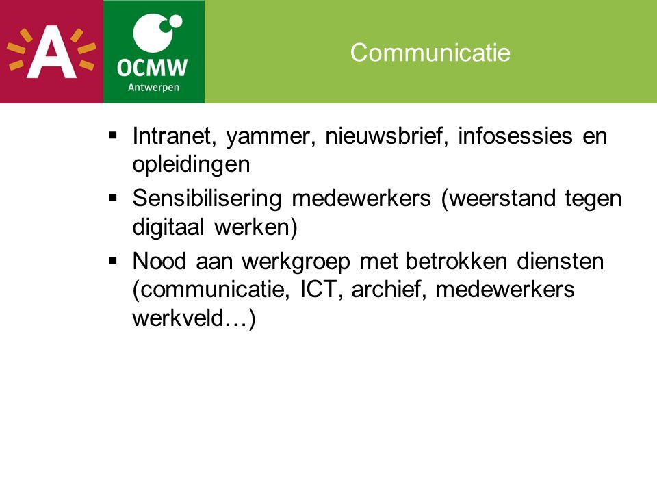 Communicatie Intranet, yammer, nieuwsbrief, infosessies en opleidingen
